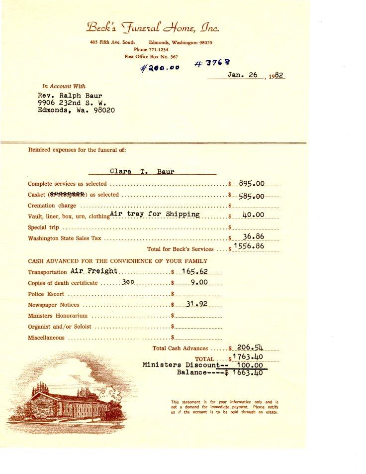 Funeral Home Bill for Clara Baur